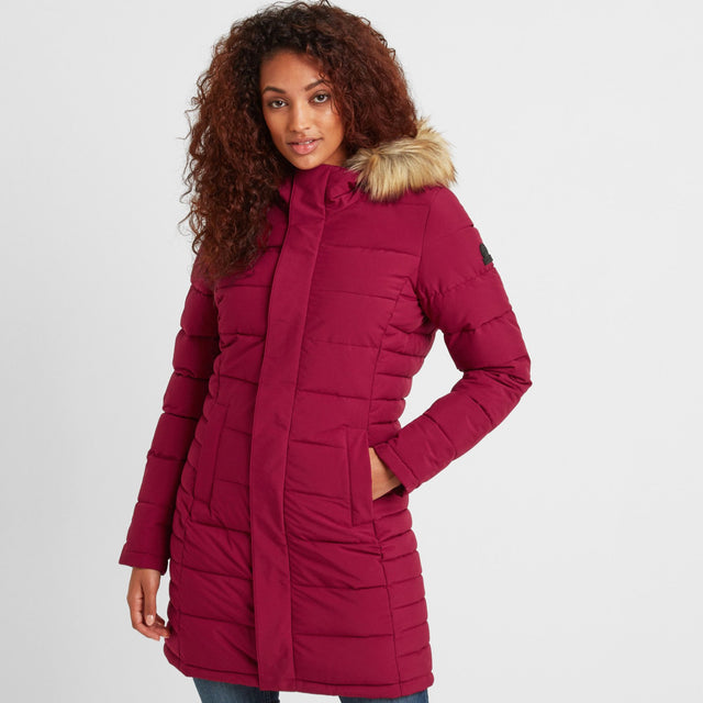 Firbeck Womens Long Insulated Jacket - Raspberry image 1