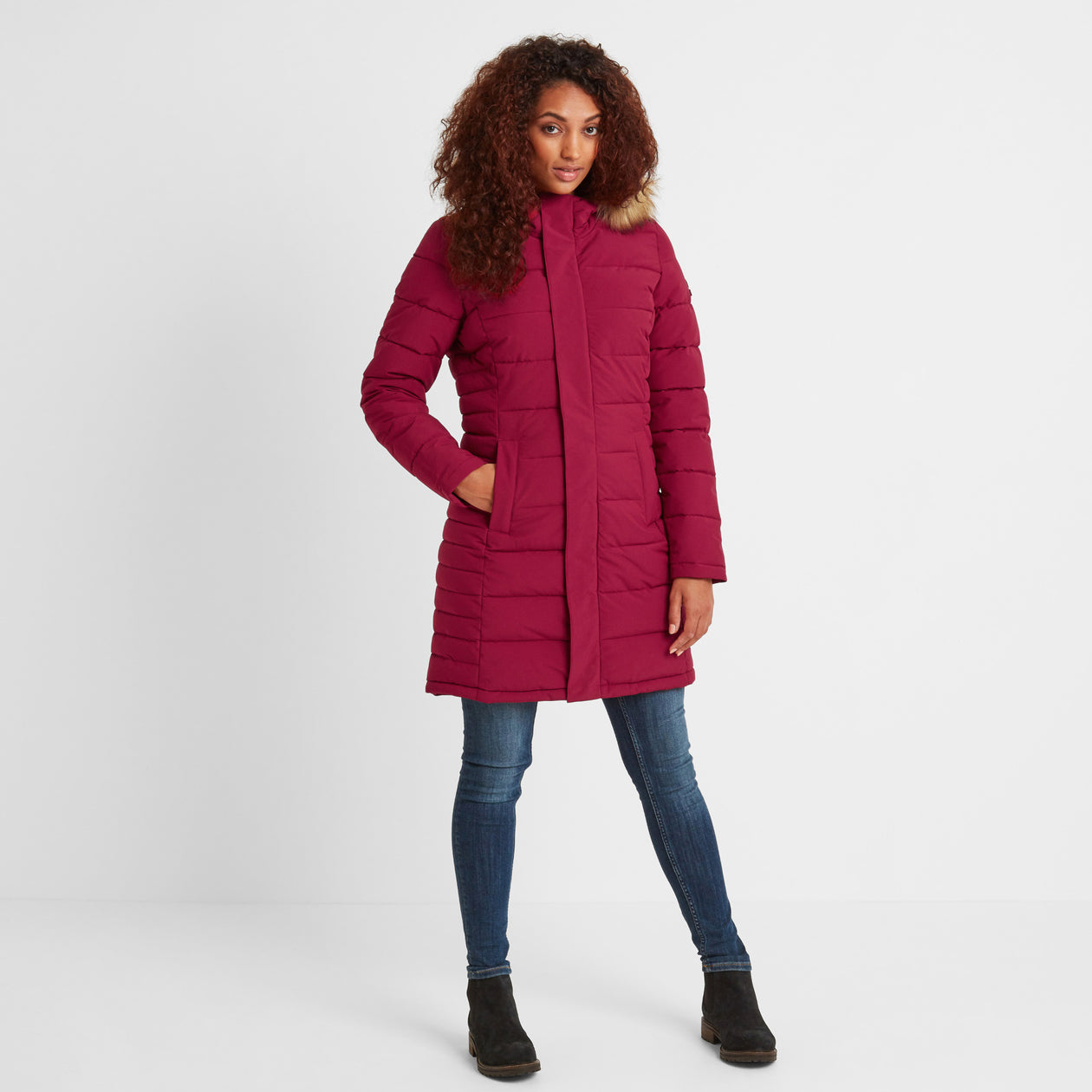 Firbeck Womens Long Insulated Jacket - Raspberry image 4