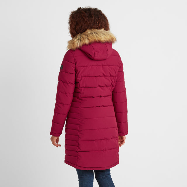 Firbeck Womens Long Insulated Jacket - Raspberry image 2