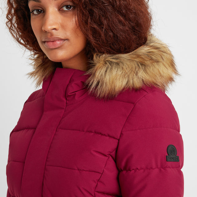 Firbeck Womens Long Insulated Jacket - Raspberry image 5