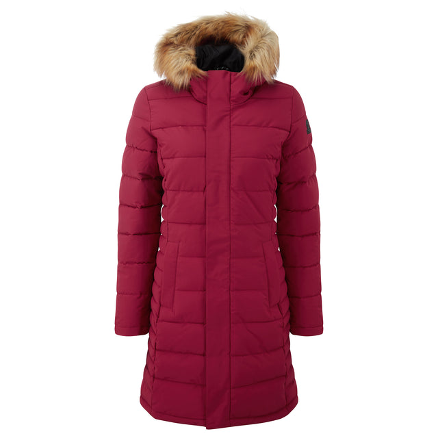 Firbeck Womens Long Insulated Jacket - Raspberry image 3
