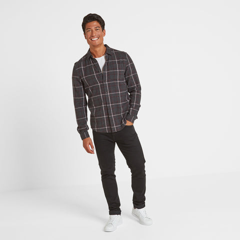 Fletcher Mens Long Sleeve Flannel Check Shirt - Deep Port Check