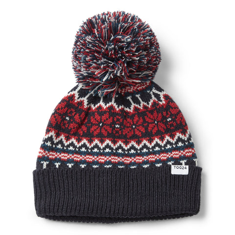 Flitton Turn Up Knit Hat - Naval Blue/Chilli Red