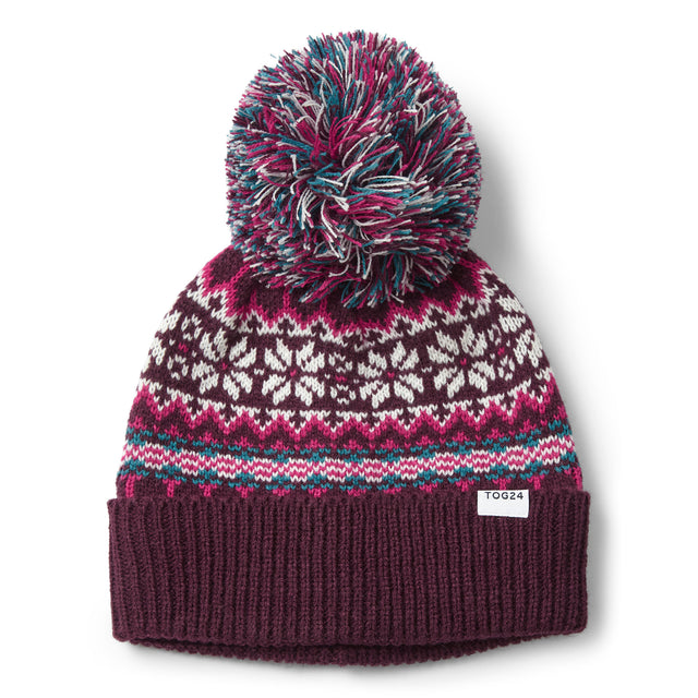 Flitton Turn Up Knit Hat - Aubergine/Cerise image 3