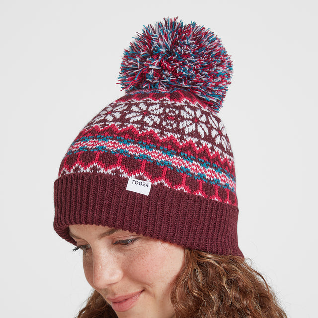 Flitton Turn Up Knit Hat - Aubergine/Cerise image 2