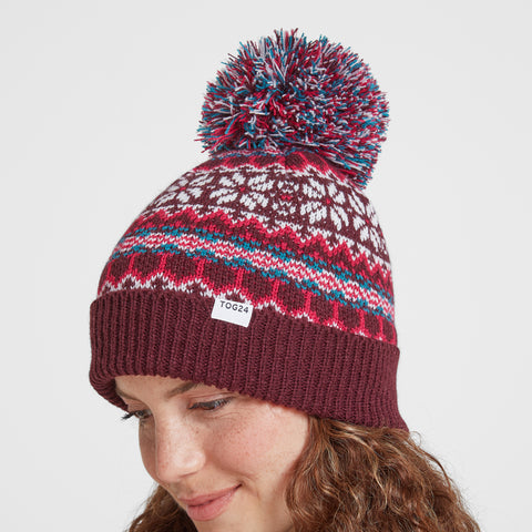 Flitton Turn Up Knit Hat - Aubergine/Cerise