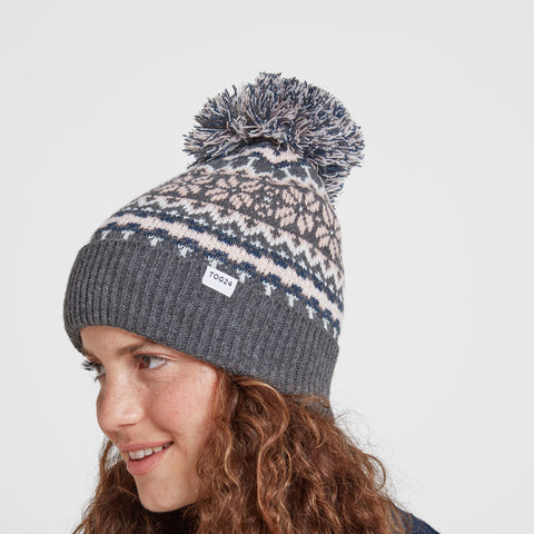 Flitton Turn Up Knit Hat - Rose Pink/Grey Marl