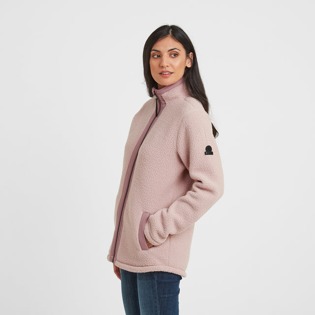 Flores Womens Sherpa Fleece Zipneck - Rose Pink image 1