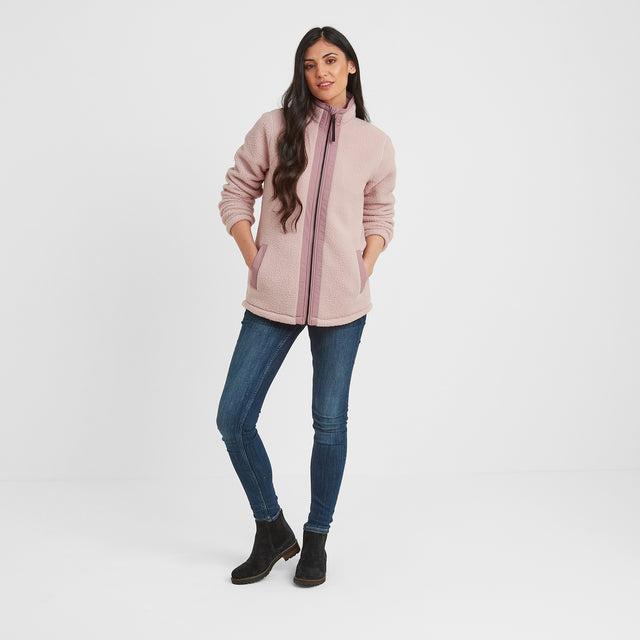 Flores Womens Sherpa Fleece Zipneck - Rose Pink image 2