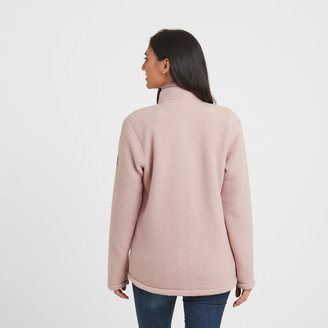 Flores Womens Sherpa Fleece Zipneck - Rose Pink image 3