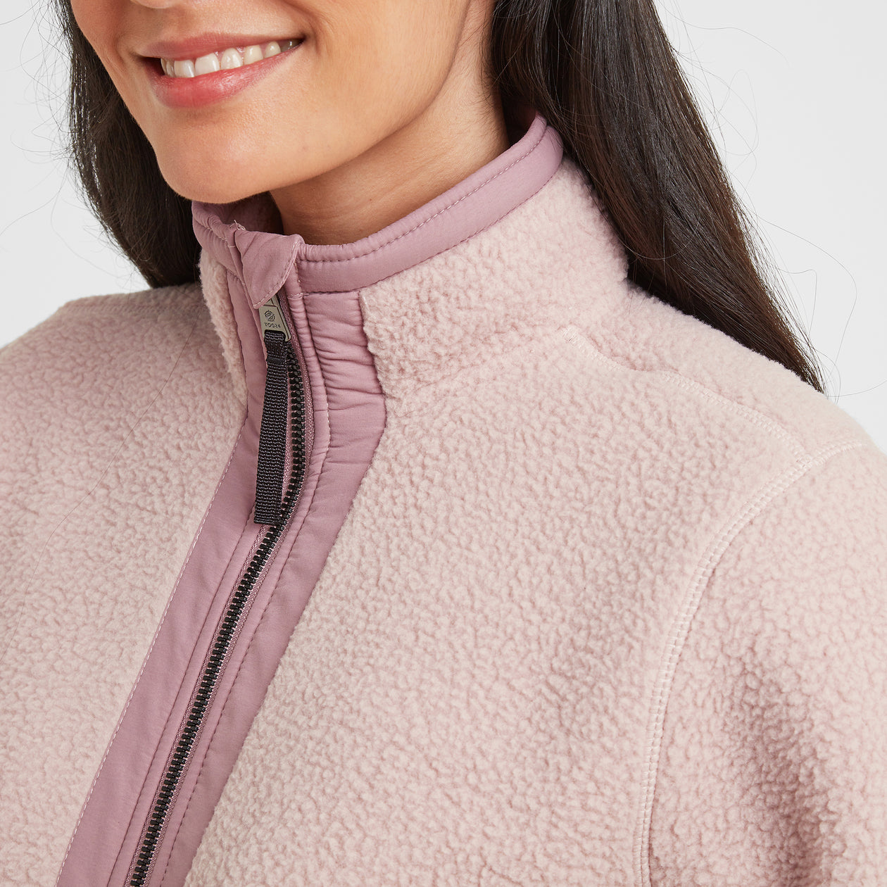 Flores Womens Sherpa Fleece Zipneck - Rose Pink image 4