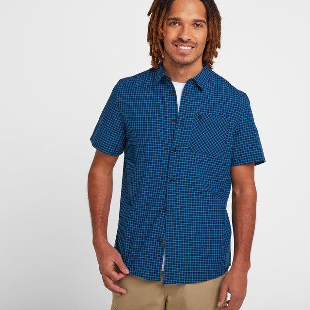 Foster Mens Check Shirt - Blue Jewel image 1