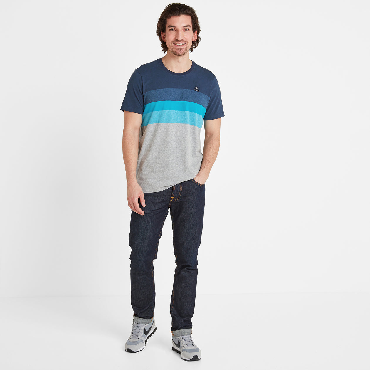 Freeman Mens Stripe T-Shirt - Dark Indigo image 4