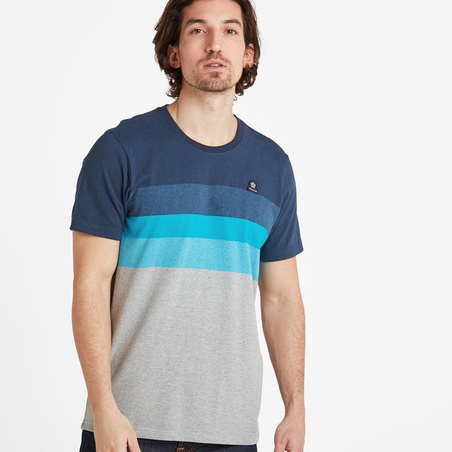 Freeman Mens Stripe T-Shirt - Dark Indigo image 1