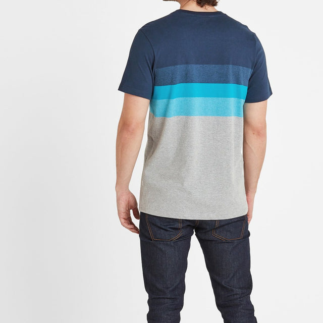 Freeman Mens Stripe T-Shirt - Dark Indigo image 2