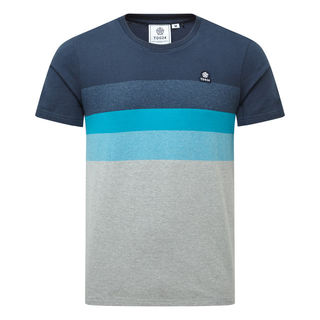Freeman Mens Stripe T-Shirt - Dark Indigo image 3