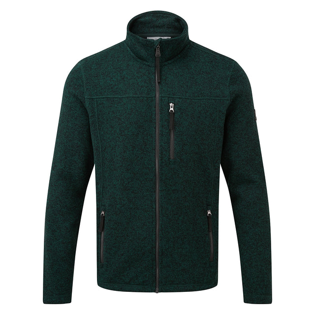 Garton Mens Knitlook Fleece Jacket - Forest Marl image 6