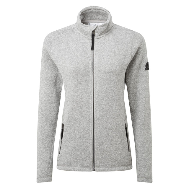Garton Womens Knitlook Fleece Jacket - Light Grey Marl image 6