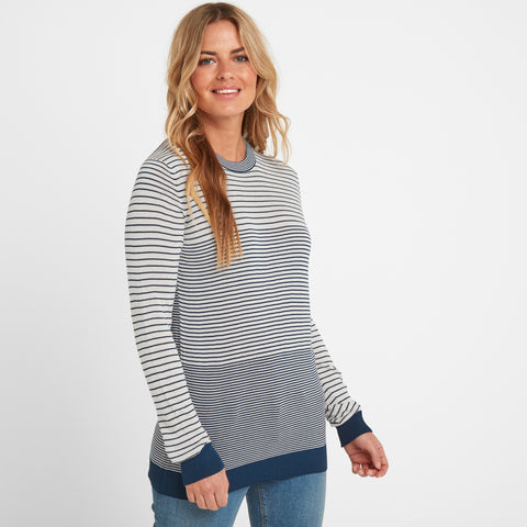 Ginny Womens Stripe Crew Jumper - Atlantic Blue