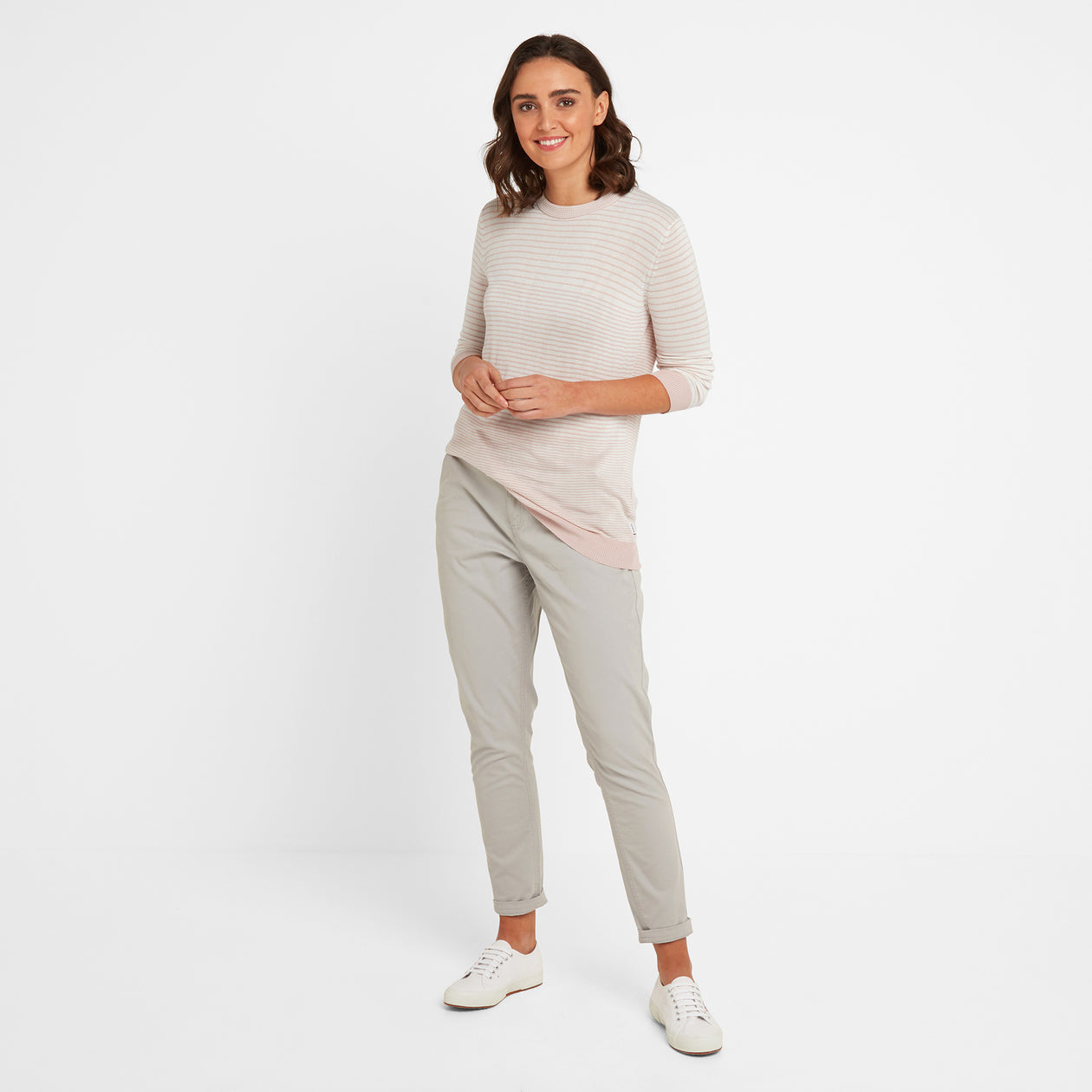 Ginny Womens Stripe Crew Jumper - Rose Pink image 4