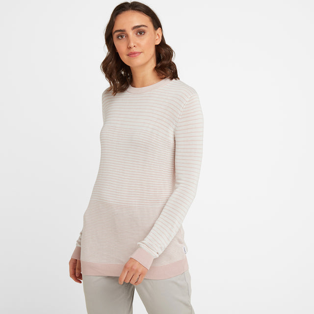 Ginny Womens Stripe Crew Jumper - Rose Pink image 1