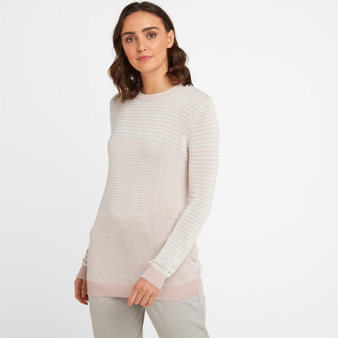 Ginny Womens Stripe Crew Jumper - Rose Pink