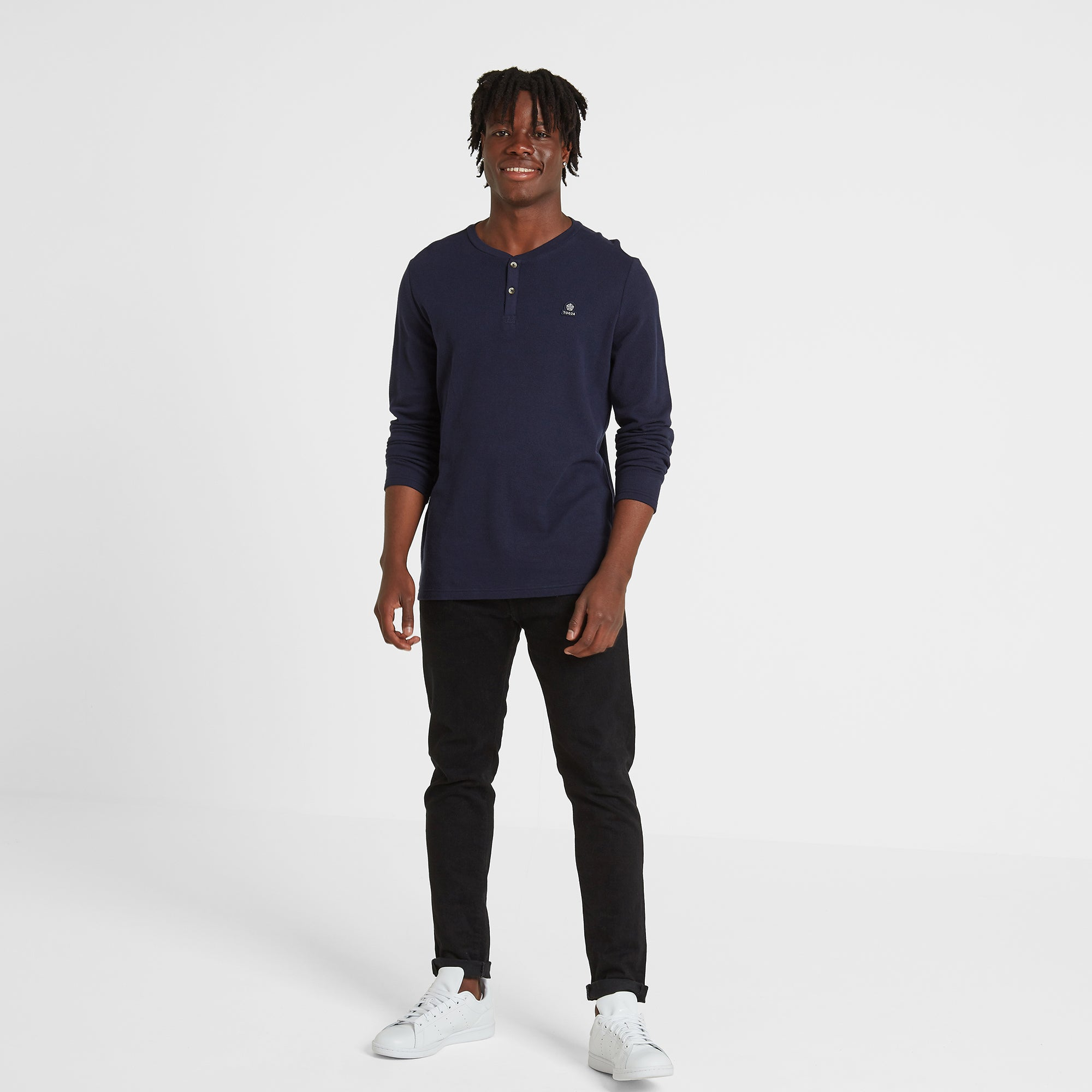 Gowdall Mens Grandad Collar T-Shirt - Navy