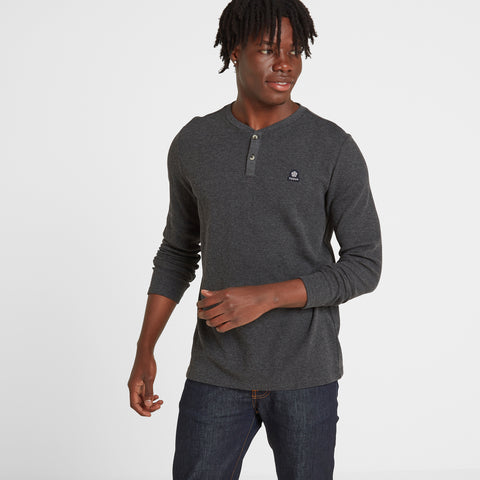 Gowdall Mens Grandad Collar T-Shirt - Grey Marl