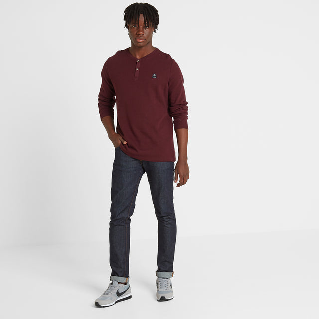 Gowdall Mens Grandad Collar T-Shirt - Deep Port image 2