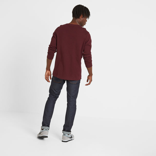 Gowdall Mens Grandad Collar T-Shirt - Deep Port image 3