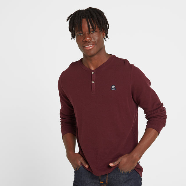 Gowdall Mens Grandad Collar T-Shirt - Deep Port image 1