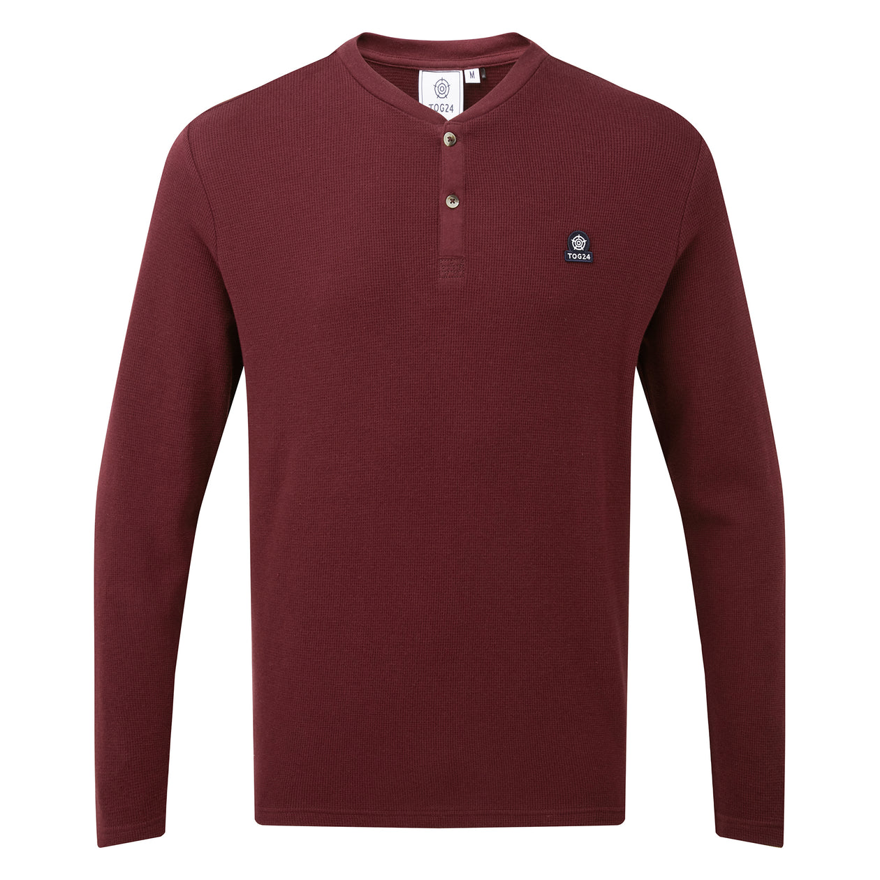 Gowdall Mens Grandad Collar T-Shirt - Deep Port image 4