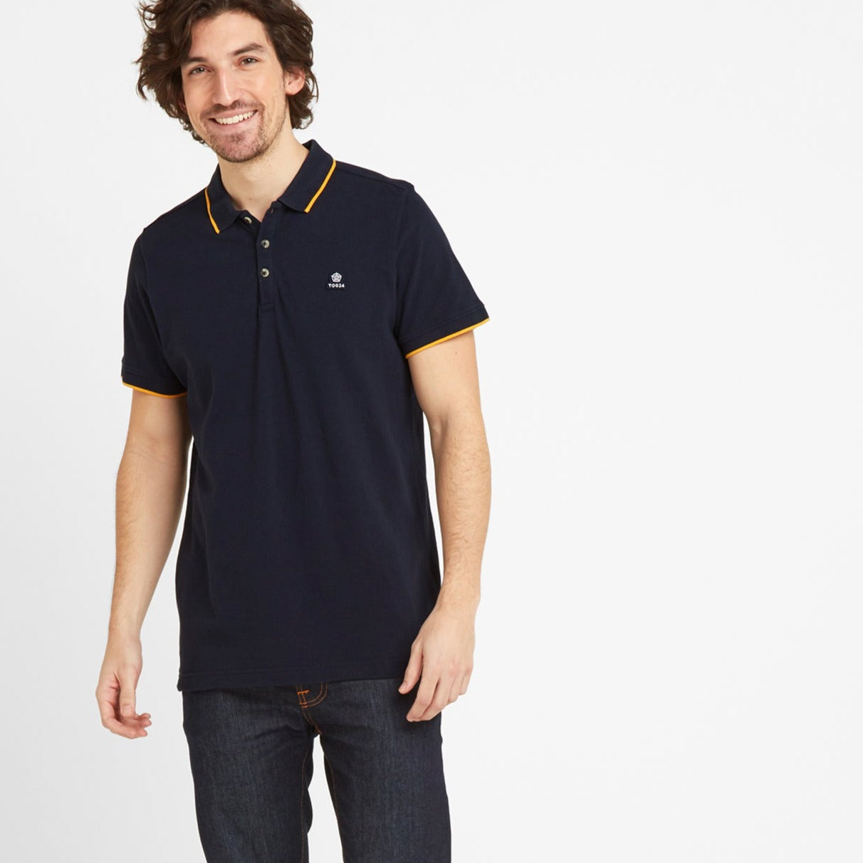 Grindale Mens Pique Polo Shirt - Dark Indigo image 4