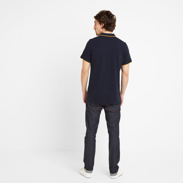 Grindale Mens Pique Polo Shirt - Dark Indigo image 2
