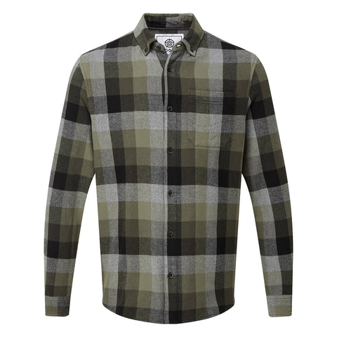 Harvey Mens Long Sleeve Flannel Check Shirt - Khaki Check