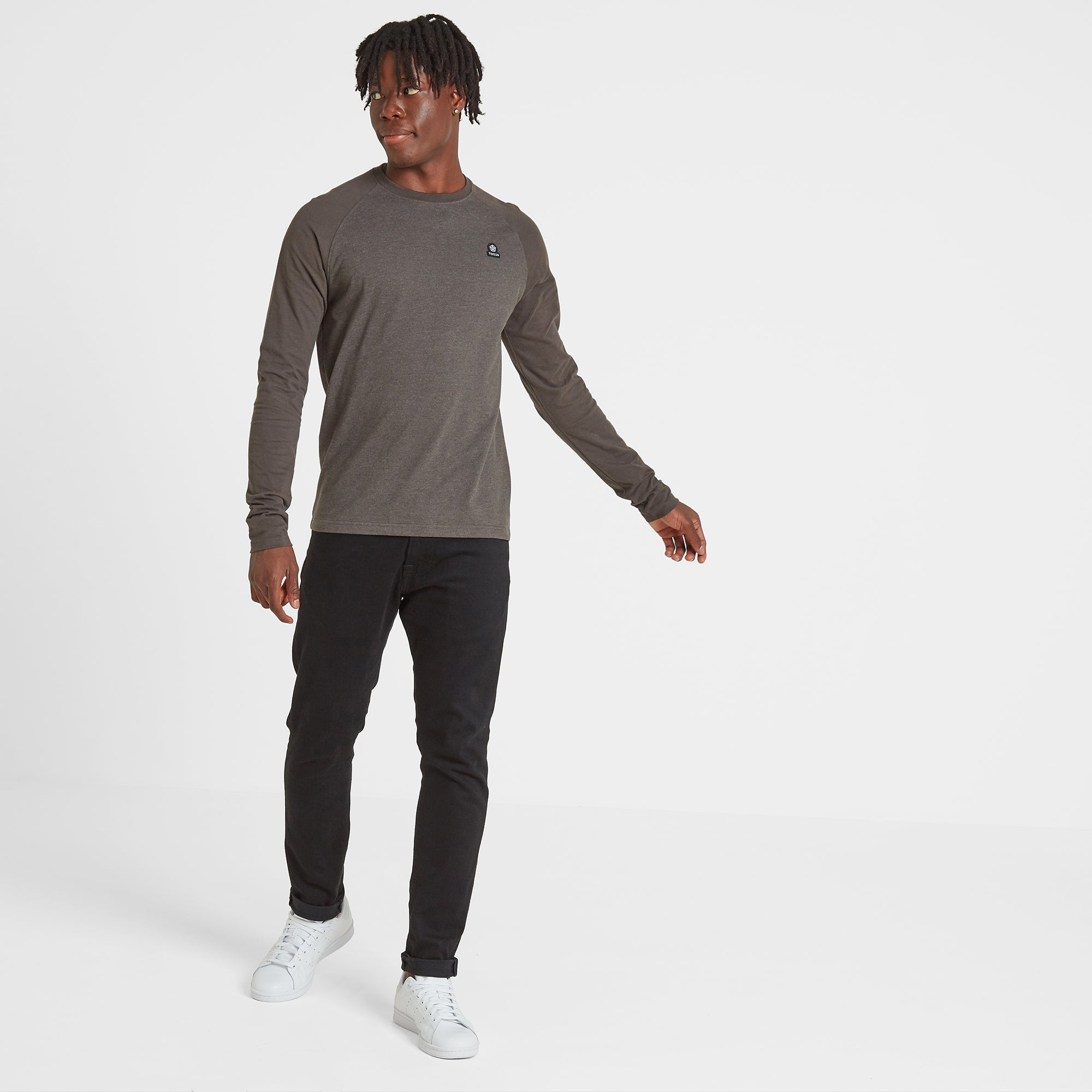 Haxby Mens Long Sleeve Raglan T-Shirt - Khaki Marl/Khaki
