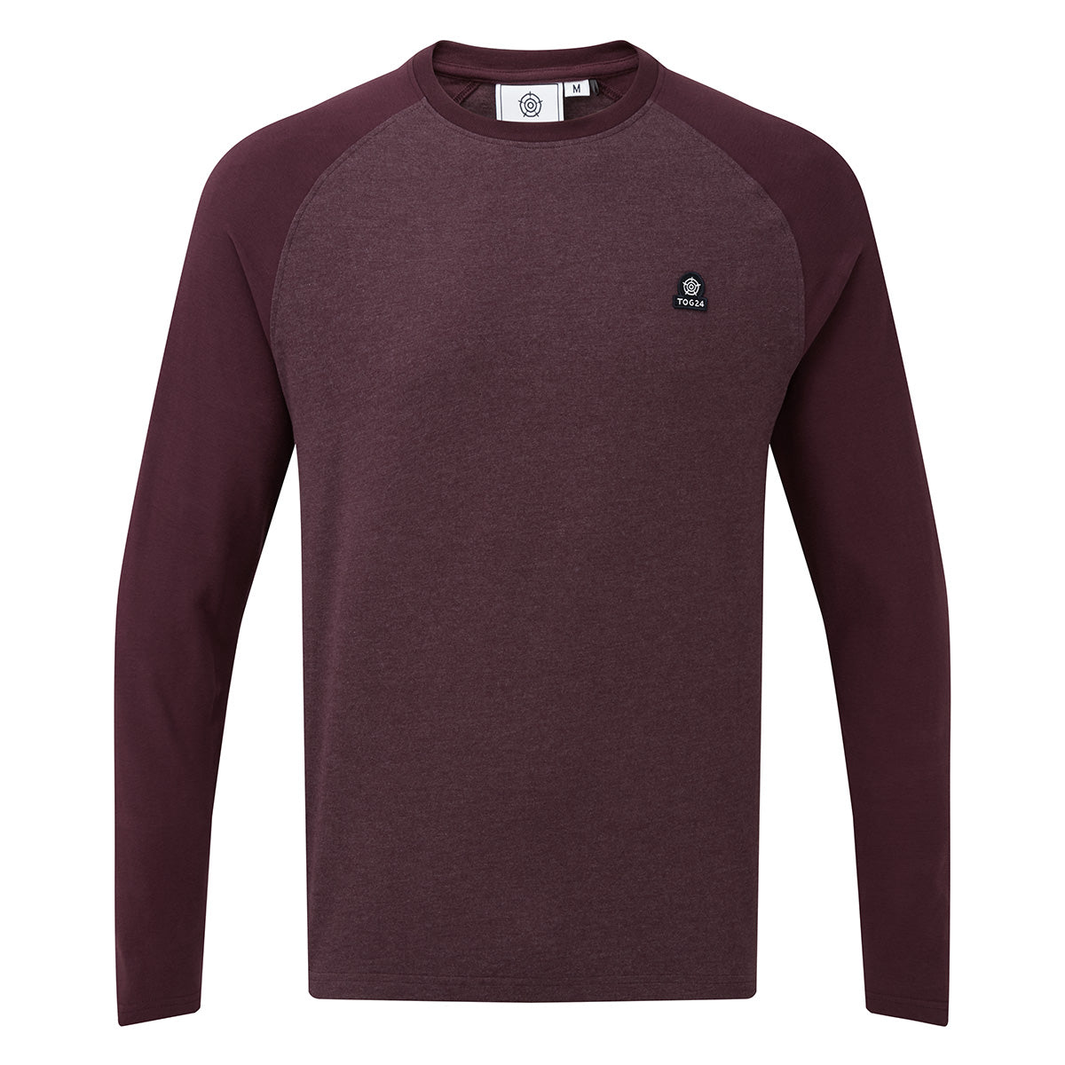 Haxby Mens Long Sleeve Raglan T-Shirt - Deep Port/Deep Port Marl image 4
