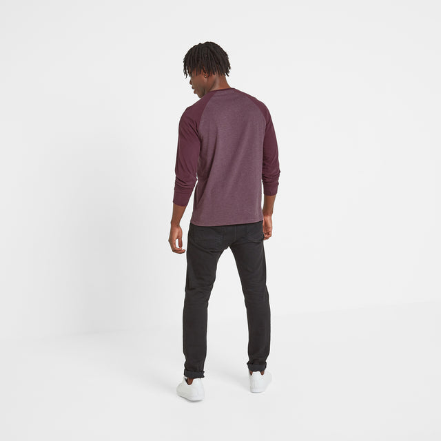 Haxby Mens Long Sleeve Raglan T-Shirt - Deep Port/Deep Port Marl image 3