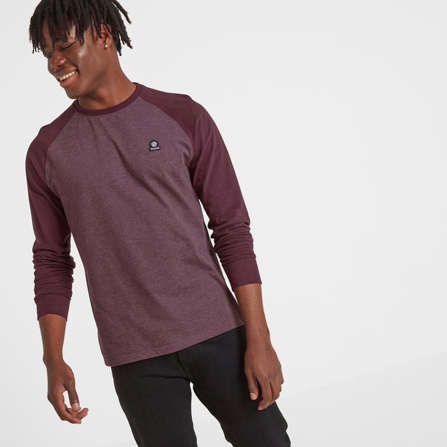Haxby Mens Long Sleeve Raglan T-Shirt - Deep Port/Deep Port Marl image 1