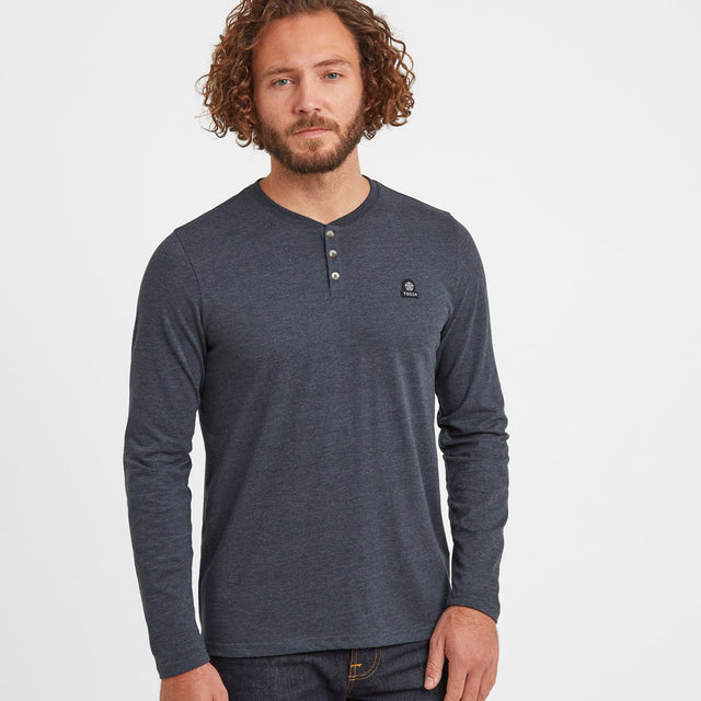 Hayne Mens Long Sleeve Grandad T-Shirt - Dark Indigo Marl image 1