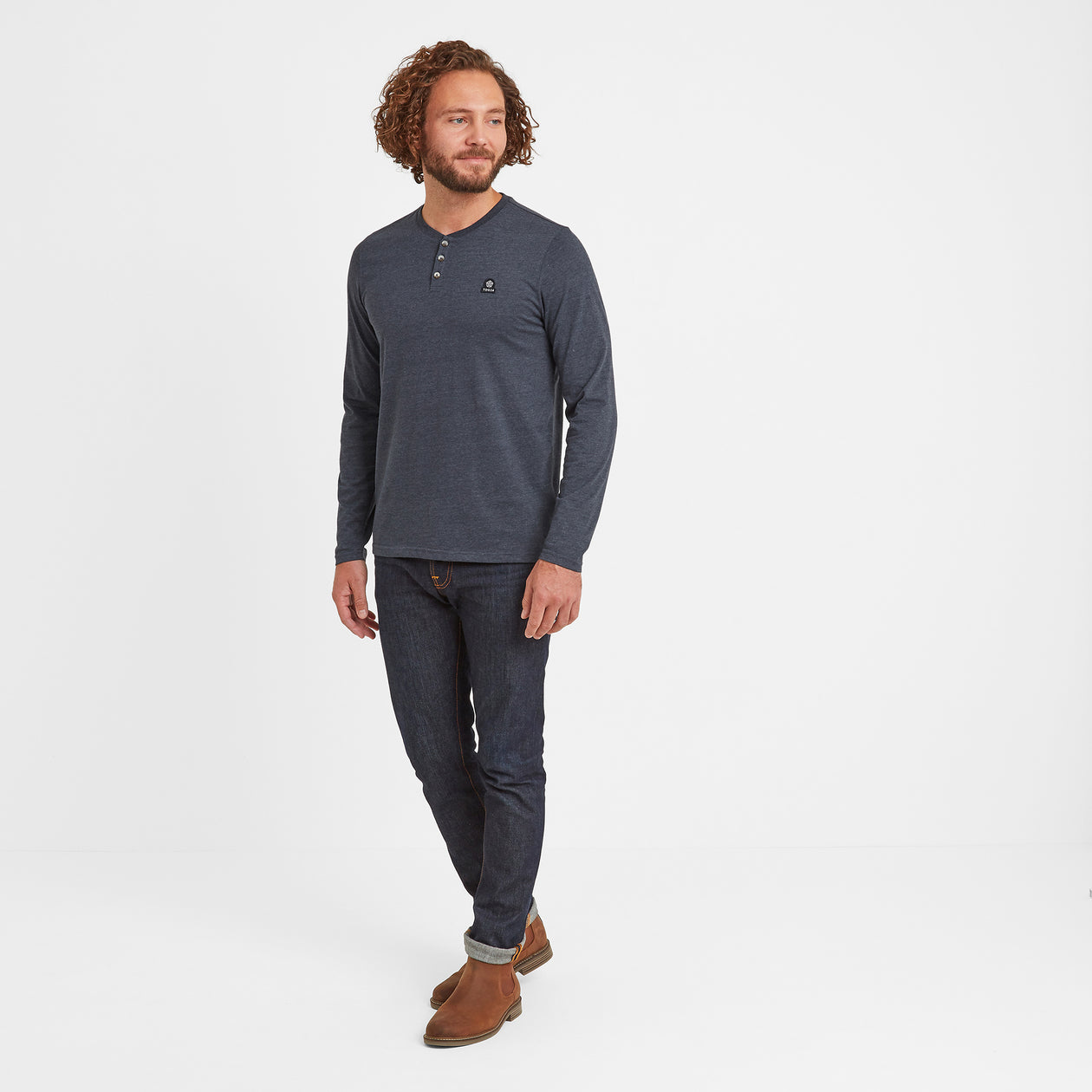 Hayne Mens Long Sleeve Grandad T-Shirt - Dark Indigo Marl image 4