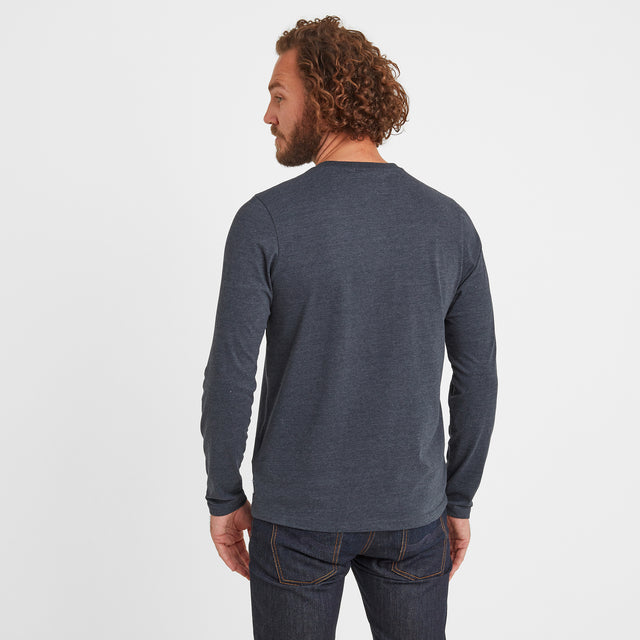 Hayne Mens Long Sleeve Grandad T-Shirt - Dark Indigo Marl image 2