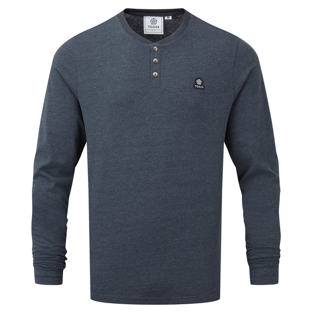 Hayne Mens Long Sleeve Grandad T-Shirt - Dark Indigo Marl image 3