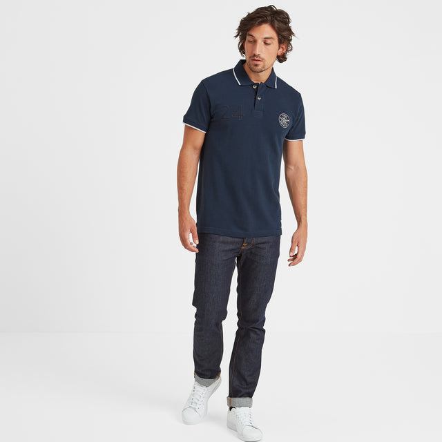 Hebble Mens Pique Polo Shirt - Naval Blue image 2