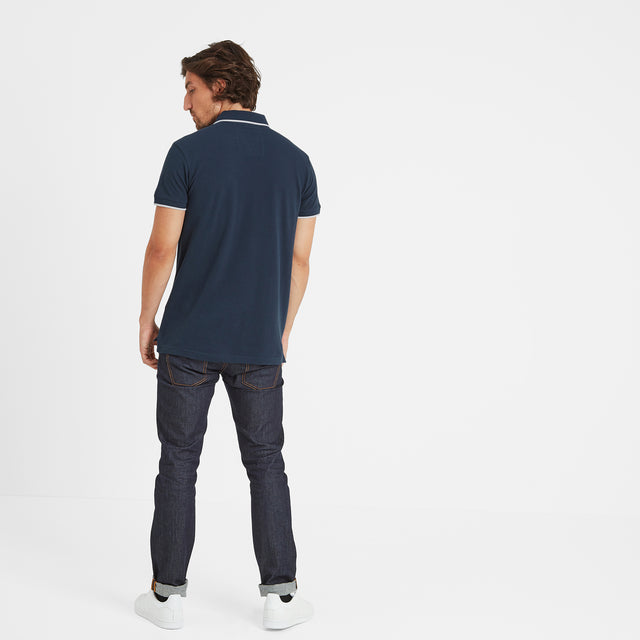 Hebble Mens Pique Polo Shirt - Naval Blue image 3