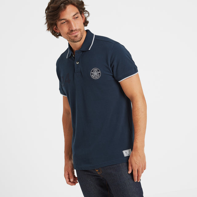 Hebble Mens Pique Polo Shirt - Naval Blue image 1
