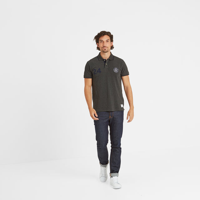 Hebble Mens Pique Polo Shirt - Dark Grey Marl image 2