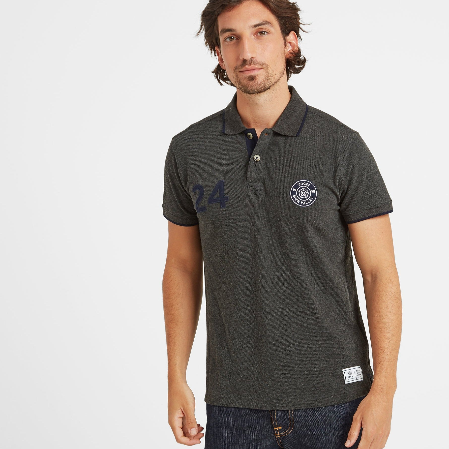 Hebble Mens Pique Polo Shirt - Dark Grey Marl