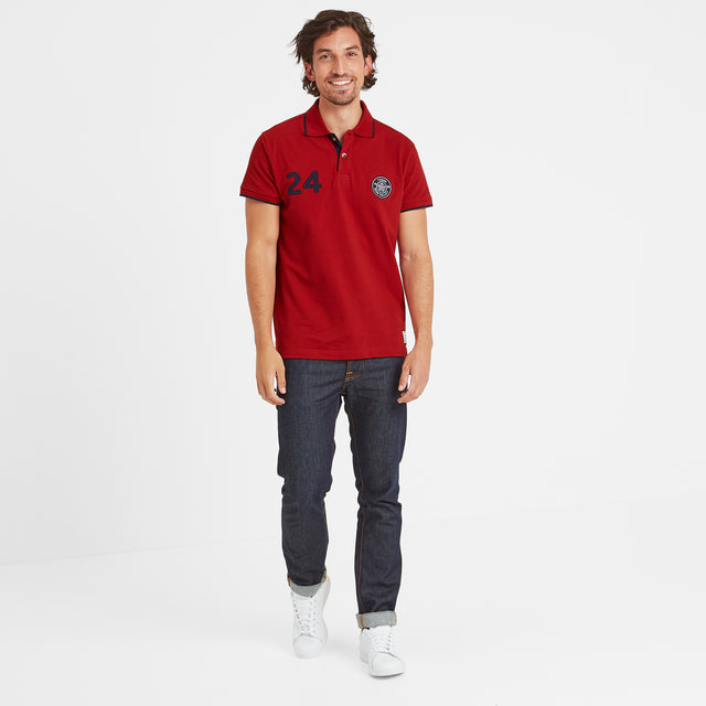 Hebble Mens Pique Polo Shirt - Chilli Red image 2