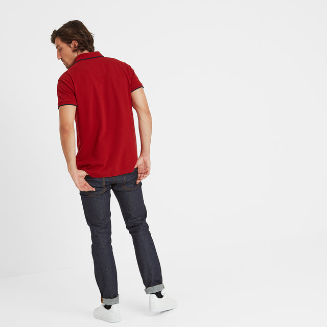 Hebble Mens Pique Polo Shirt - Chilli Red image 3